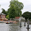 Passing the weir in front of the Complete Angler Hotel, Marlow